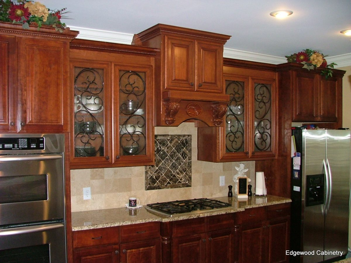 Cabinet doors with glass fronts view in gallery elegant for Cherry kitchen cabinets with glass doors