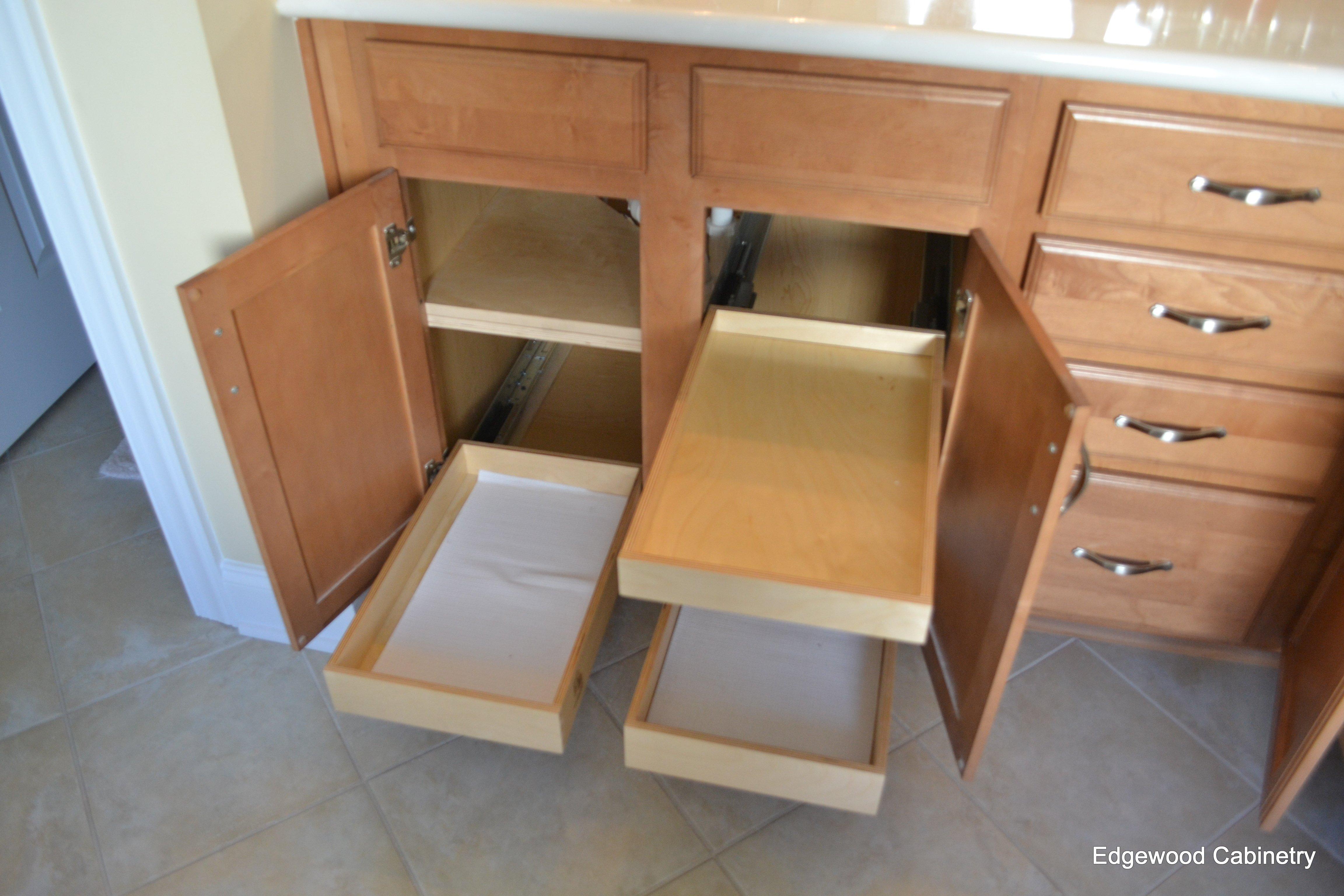 pull out shelf bath storage