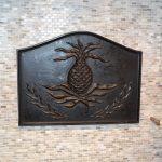 cast metal art kitchen backsplash-edgewood cabinetry