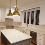 edgewood custom cabinetry-white shaker kitchen with gray island-Smithfield nc