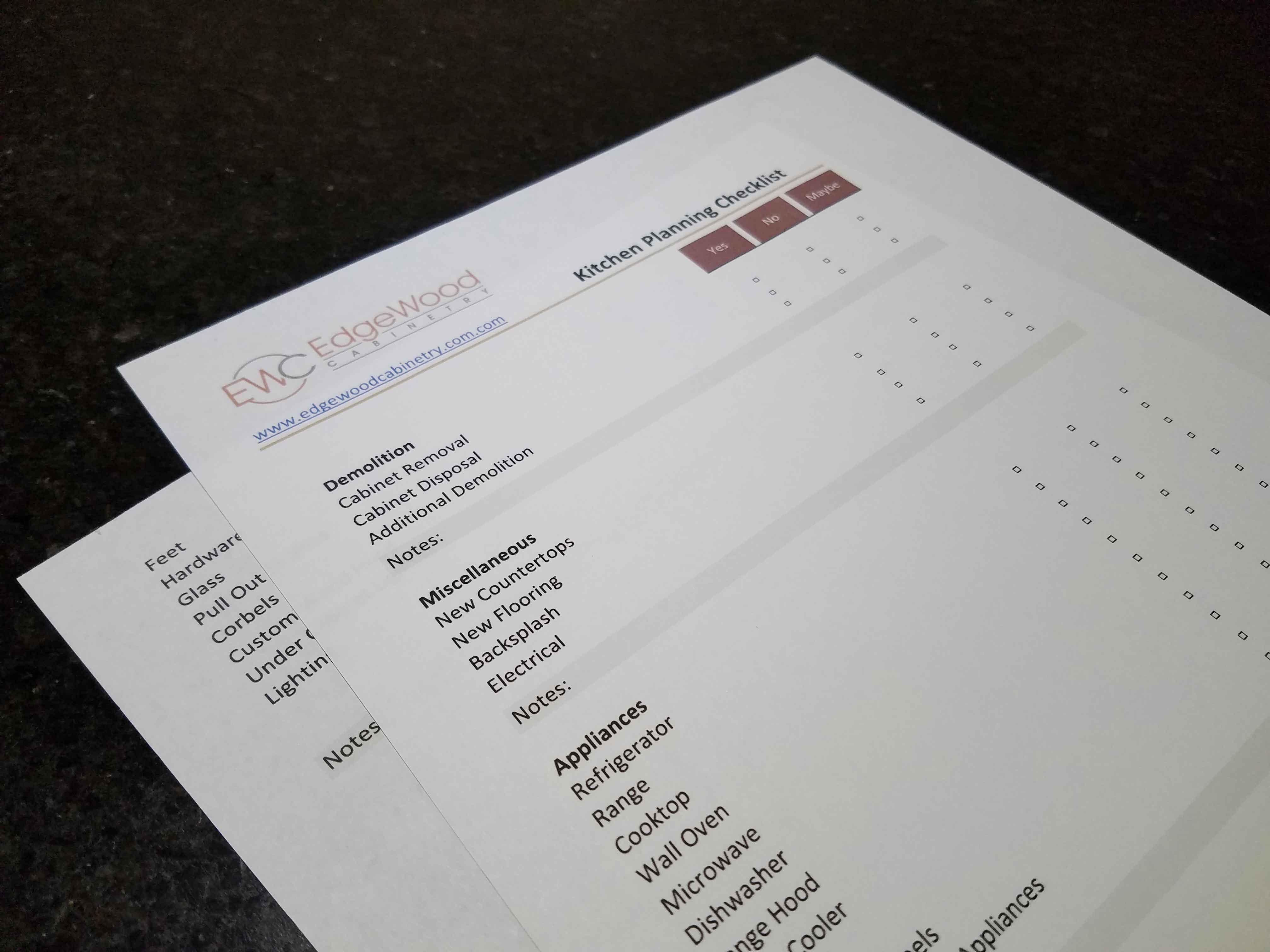 Kitchen Planning Checklist Edgewood Cabinetry