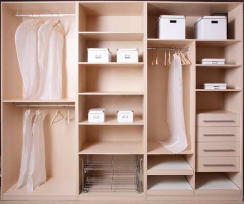 Closet cabinets and shelves