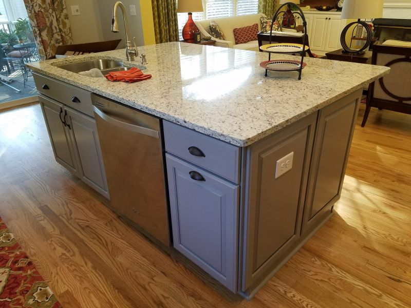 custom gray shaker kitchen island cary nc