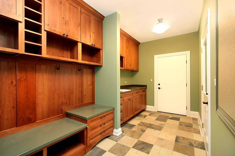mudroom with custom cabinets